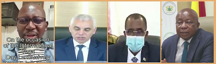 Hon'ble Health Minister of Madagascar, Republic of Ghana, Kingdom of Morocco and Secretary General of Health in Central African Republic participated inaugural session of UBUNTU : International Yoga Conference through video recorded message.
